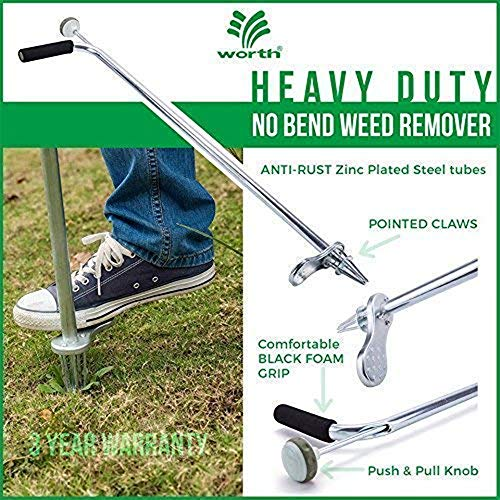 "Worth Garden Stand-Up Weeder and Root Removal Tool - Ergonomic Weed Puller with A 33"" Tall Handle and Foot Pedal - Easy Weed Grabber Made from Rust-Resistant Steel - 3 Year Warranty"