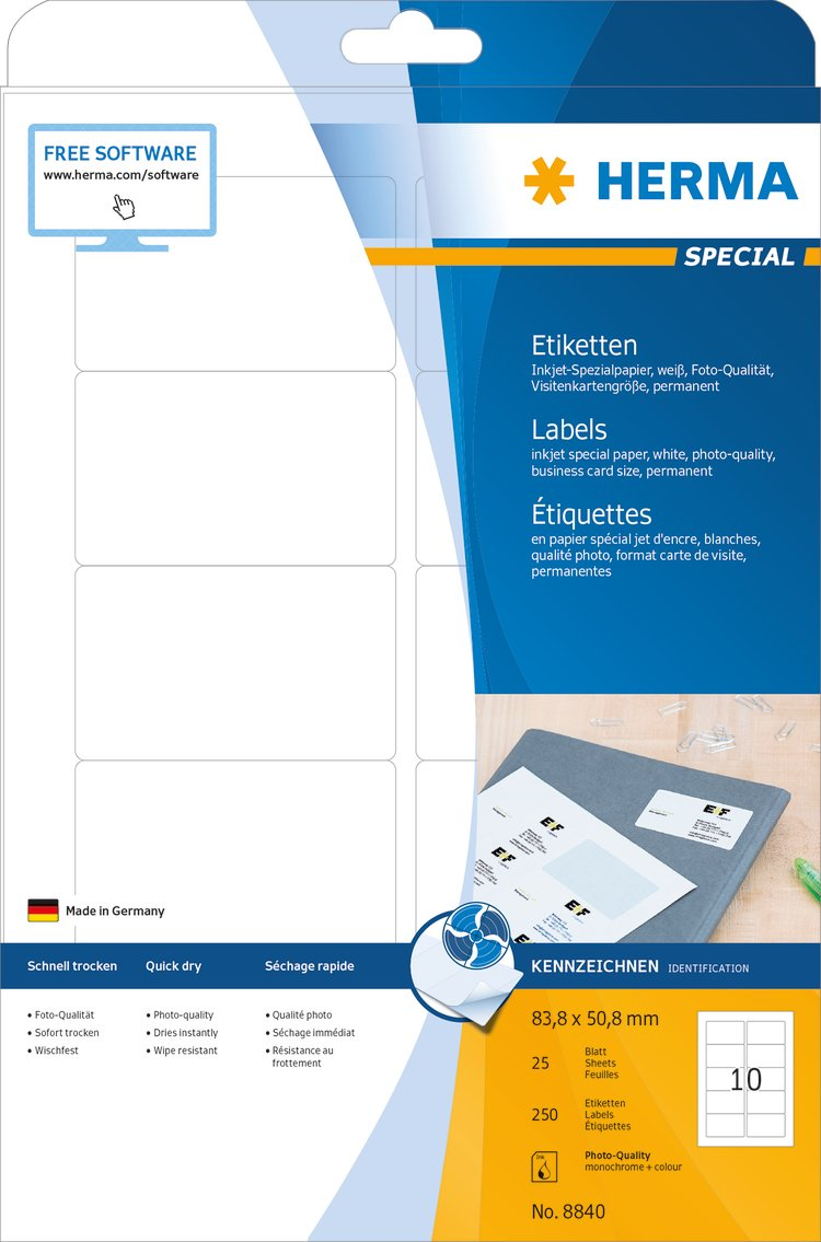 Herma 8840 Universal Etiketten Für Inkjet Drucker Din A4 83 8 X 50 8 Mm 25 Blatt Papier Matt Selbstklebend Bedruckbar Permanent Haftende