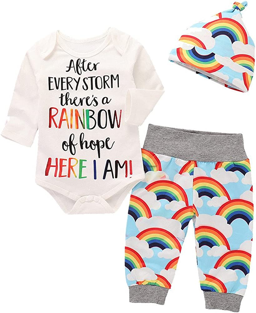Newborn Baby Girl Boy Letter Rainbow Romper Tops Jumpsuit Pants Hat Clothes Set