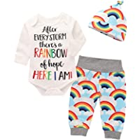 Vinjeely 3pcs Infant Baby Girls Boys Letter Print Romper +Rainbow Pants+Hat Outfits