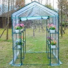 Outsunny 4.7' x 4.7' x 6.4' Portable Walk-in Flower Greenhouse Plants Warm Garden Transparent Green House