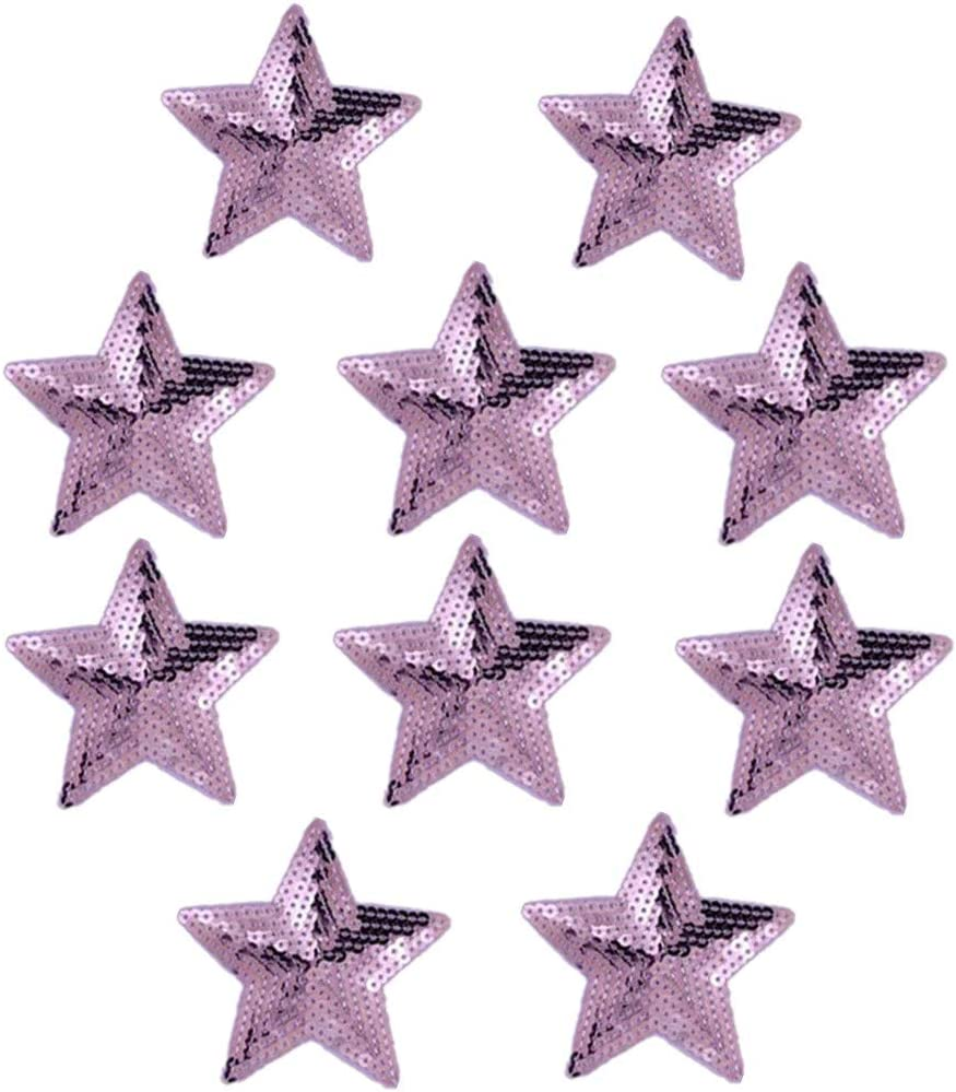 Iron on Large Lilac Violet Sequin Star Sew on patch Badge Applique