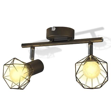 vidaXL Lámpara de Techo de Alambre de Estilo Industrial Negro con 2 Focos LED