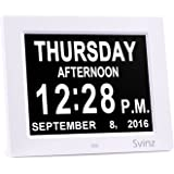 """3 Alarm Options - 8"""" Digital Calendar Alarm Day Clock with Extra Large Non-Abbreviated Day & Month SDC008 by Svinz - 2 Color Display Settings"""