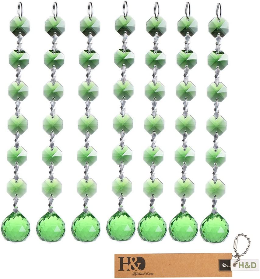 Rosa,10 St/ück Kronleuchter Tropfen Anh/änger Teile zum Aufh/ängen Hochzeit Weihnachten Favor H /& D Kristall Kronleuchter Bead Strands mit 20mm Kristall Kugel und 14 mm Achteck Perlen