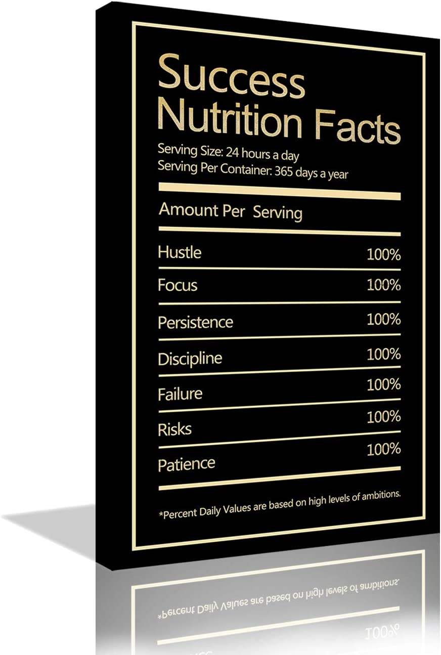 Inspirational Wall Art Success Nutrition Facts Office Motivational Posters Motivation Quotes Canvas Painting Prints Inspirational Wall Decor for Office Living Room Gym Framed Ready to Hang - 24''x36''