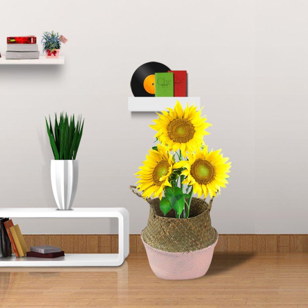 maceta de flores Small etc. almacenamiento plantas tejida a mano Cesta de paja natural plegable juguetes fruta para la ropa sucia paja negro