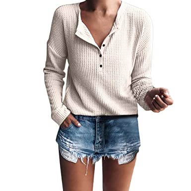 5d7ca1e663 FINME Women s Casual Long Sleeve Henley Shirt Rib Knit Blouse Button Tunic  Tops(Beige
