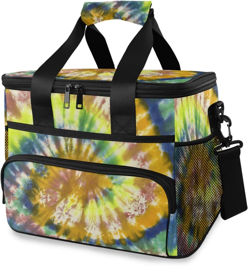 ALAZA Tie Dye Pattern of Yellow and Blue Color Large Cooler Lunch Bag, Waterproof Cooler Bag for Camping, Picnic, BBQ, Family Outdoor Activities