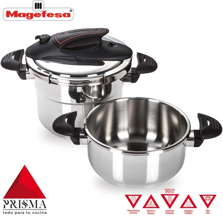MAGEFESA Prisma Olla a presión Super rápida de fácil Uso, Acero Inoxidable 18/10, Apta para Todo Tipo de cocinas, Incluido inducción. (4L + 6L): Amazon.es: Hogar