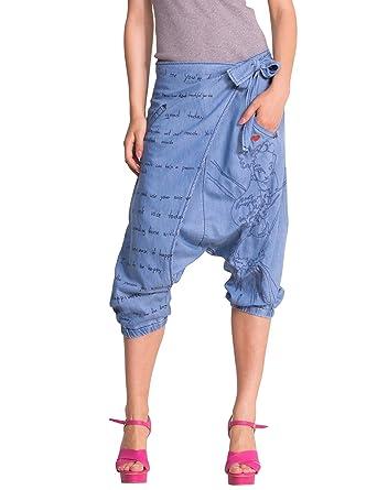 Desigual Pareo , Pantalon , Sarouel , Femme , Bleu (Denim Light Wash) ,