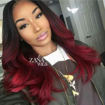 Zana Body Wave Human Hair Lace Front Wigs Glueless Virgin Hair Lace Wigs For Black Women Ombre 1b Red