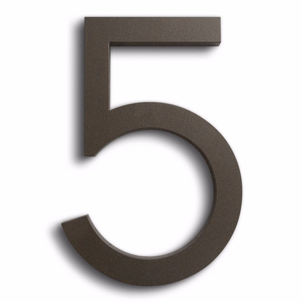 Modern House Number Bronze Color Aluminum Modern Font Number Five''5'' 6 inch by Moderndwellnumbers.com