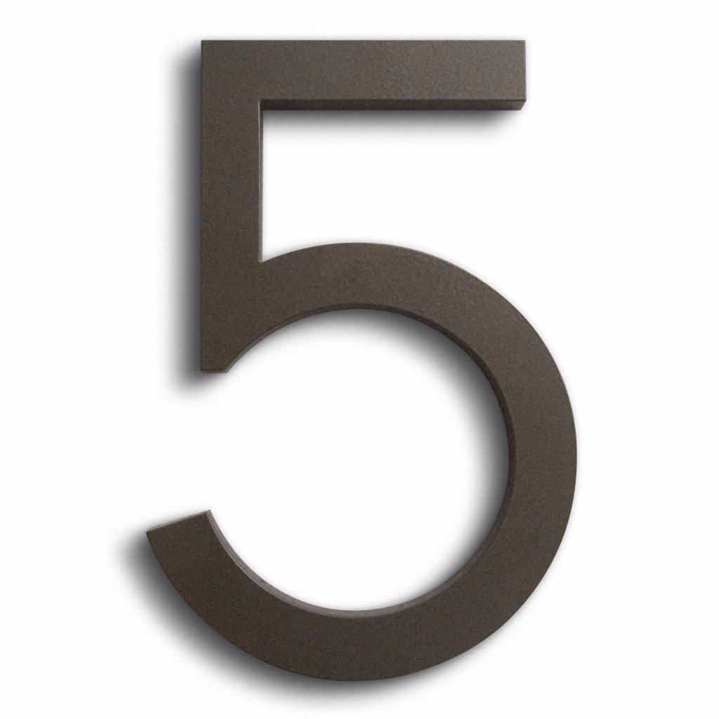 Modern House Number Bronze Color Aluminum Modern Font Number Five''5'' 6 inch
