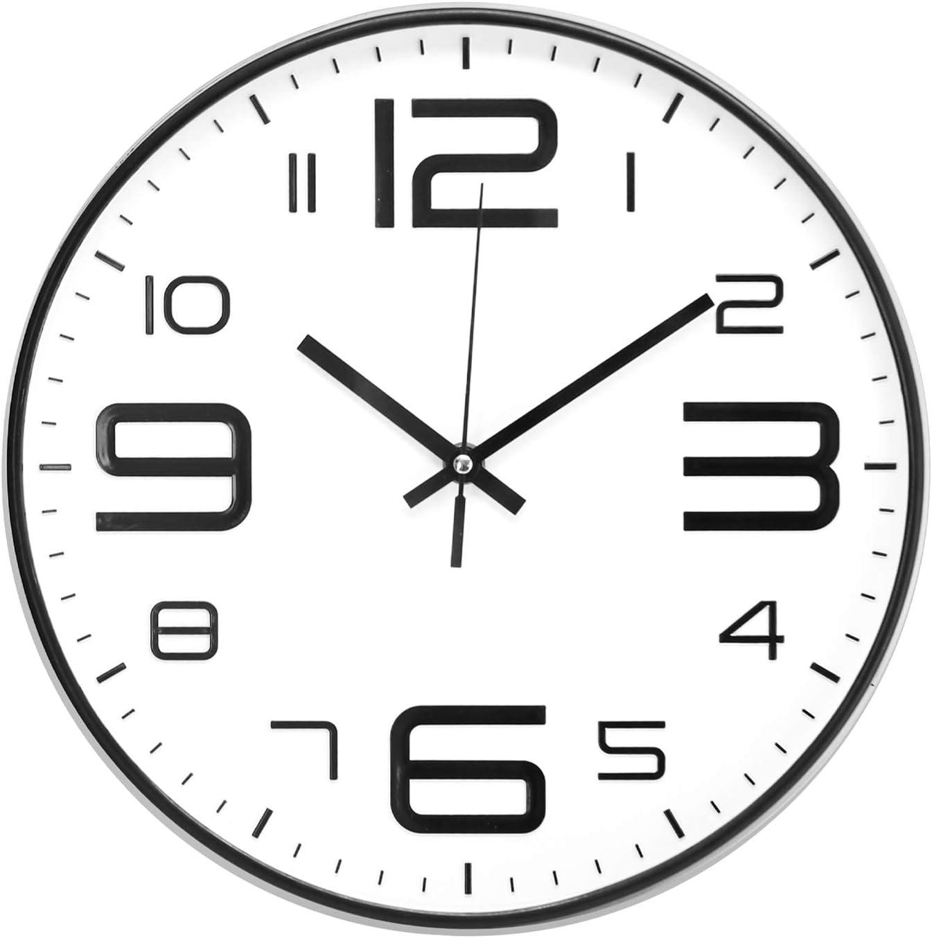 ufengke Reloj de Pared Numeros 3D Industrial Blanco Reloj Quartz Silencioso Ultramodernos Pare Salon Comedor, Diámetro 30cm