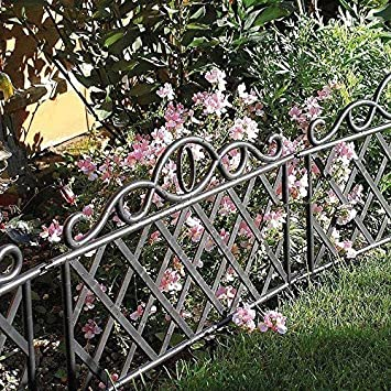Garden Mile Pack Of 12 Decorative Victorian Style Garden Fencing Panels  Garden Lawn Edging Black Picket