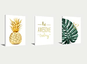 Pineapple Wall Art Inspirational Poster Modern Wall Decor Tropical Plants Canvas Painting Green Leaves Monstera Picture Be Awesome Today Wall Art Yellow Pineapple Painted Frameless for Living Room