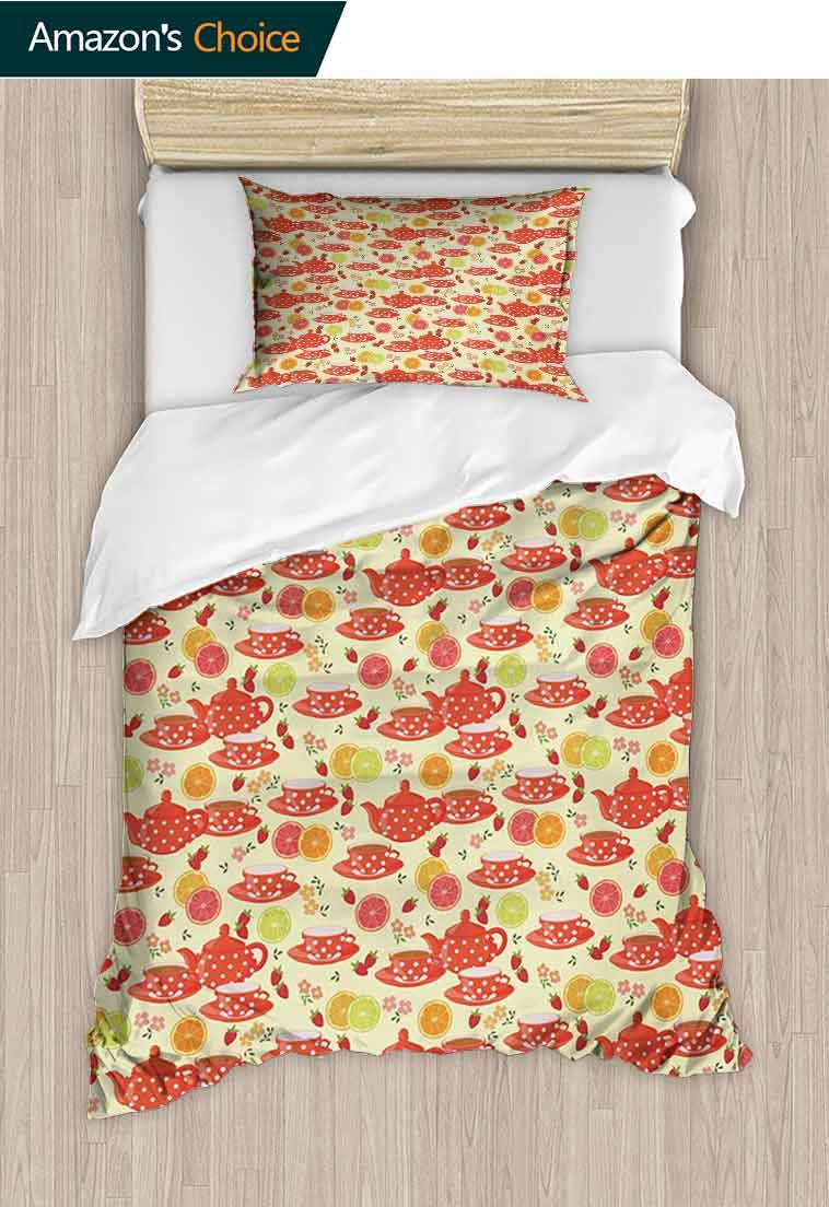 Modern DIY Quilt Cover and Pillowcase Set, Teapots and Cup with Polka Dots Lime Orange and Strawberry Fruits Cute Display, Reversible Coverlet, Bedspread, Gifts for Girls Women, 79 W x 90 L Inches by carmaxshome