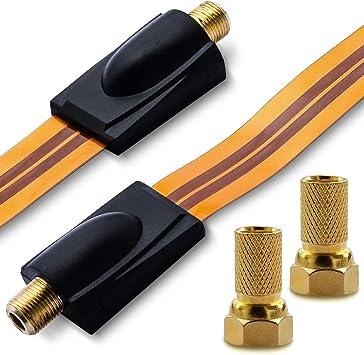 Nauci - Cable de Antena (2 Conectores F, 1 Conector Sat para ...