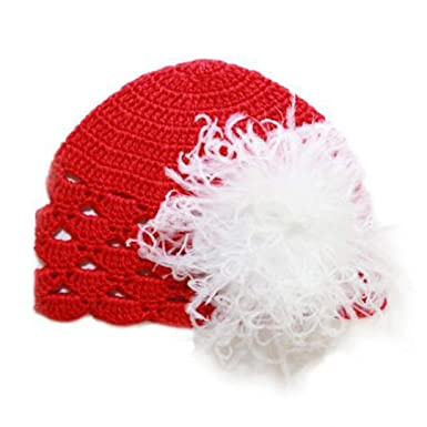Melondipity Girls Petite Poinsettia Crochet Baby Hat Quality Red Beanie  White Marabou Classic Christmas Holiday ( 67784e4fa7b