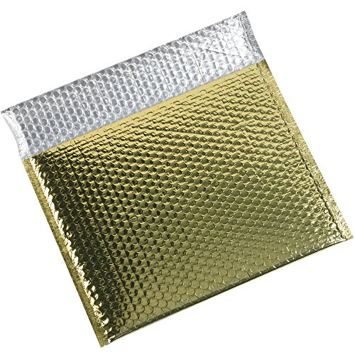 Aviditi GBM1311GD Glamour Bubble Mailer, 11'' Length x 13-3/4'' Width, Gold (Case of 48) by Aviditi