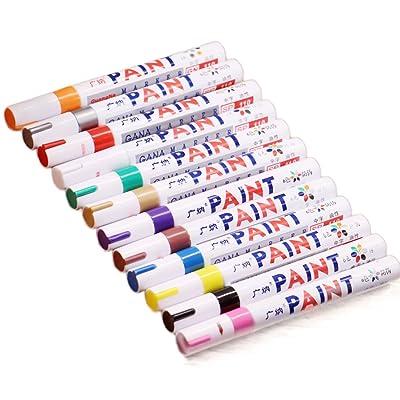 12-colors Multi-Purpose marqueur de pneu étanche en métal Tissu de verre Peinture Stylo Doodle d'animation Motif dessin Art Pen avec housse de transport