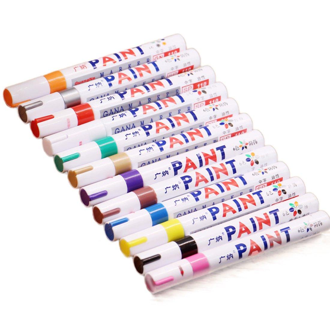 12-colors pennarello set multiuso impermeabile per pneumatici in metallo e vetro tessuto pittura penna Doodle design animazione disegno arte penna con custodia da trasporto Dooppa D072