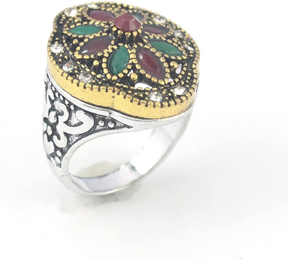 EMERALD RUBY VICTORIAN JEWELRY SILVER PLATED AND BRASS RING 9 S23852