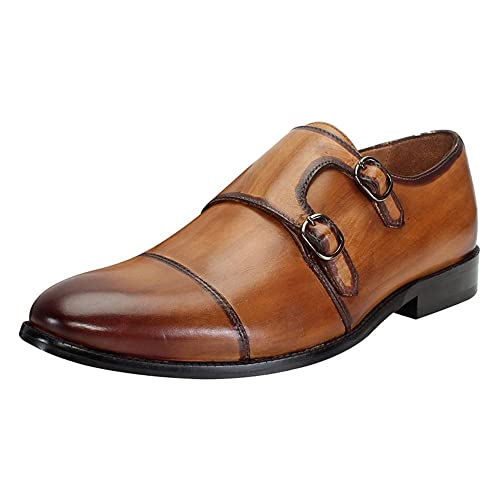 86e4a4c637dd Brune Tan Color Genuine Leather Double Monk Strap Shoes for Men Size-6  Buy  Online at Low Prices in India - Amazon.in