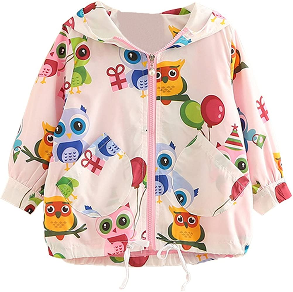 Mud Kingdom Girl Zip-up Cute Owls Hooded Coat Cartoon