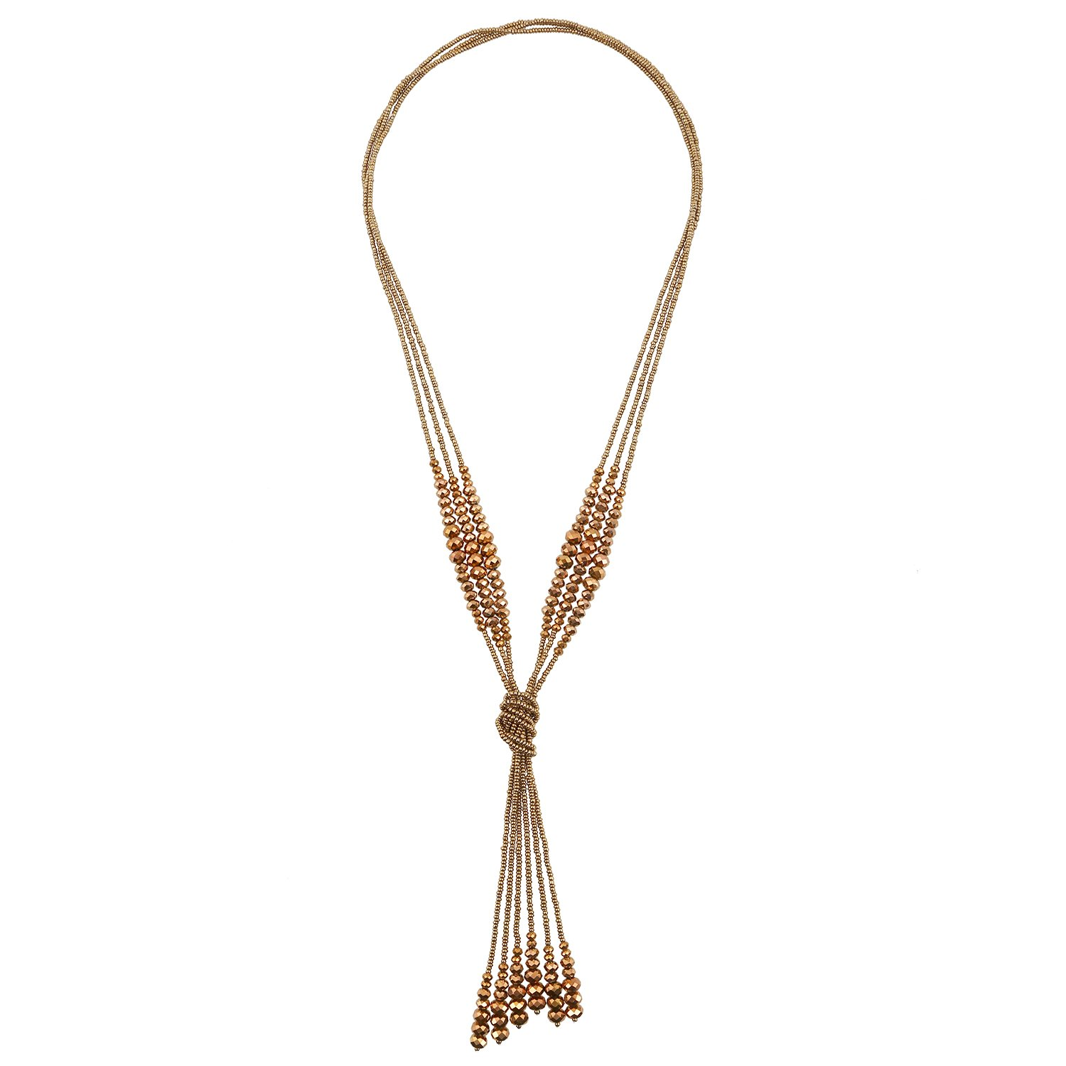 D EXCEED Women's Tassel Pendant Necklace Fashion lovely Knotted Glass Beaded Chain Y Necklace Metallic Bronze