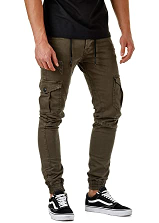 EightyFive Herren Cargo-Jeans Cuffed Destroyed Slim Fit Schwarz Khaki  EF3592  Amazon.de  Bekleidung 262b32bb9f