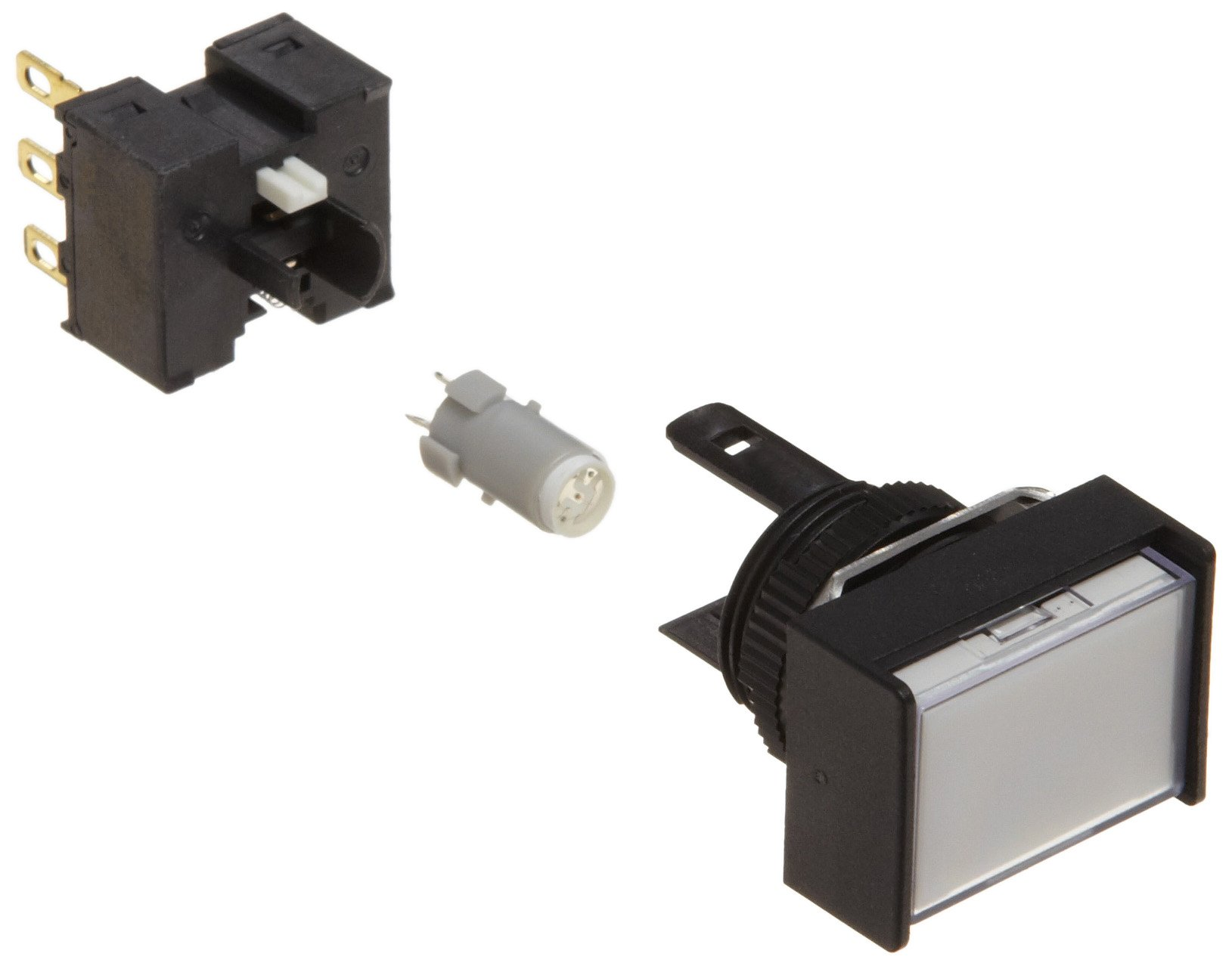 Omron A165L-JWA-24D-1 Two Way Guard Type Pushbutton and Switch, Solder Terminal, IP65 Oil-Resistant, 16mm Mounting Aperture, LED Lighted, Alternate Operation, Rectangular, White, 24 VDC Rated Voltage, Single Pole Double Throw