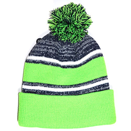 Striped Womens Beret - Men n Women Knit Baggy Striped Beanie Beret Winter Warm Ski Cap Hat AYO2002 (LIME)