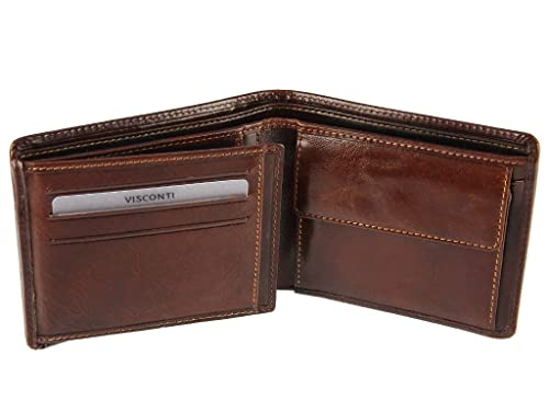 84a91e1a1742 Visconti Mens Real Italian Leather Wallet For Credit Cards