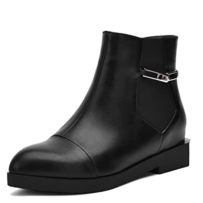 Women's Soft Material Round Closed Toe Solid Low-top Low-Heels Boots