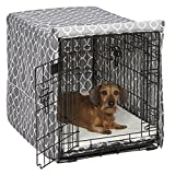 """Midwest Homes for Pets CVR30T-GY Dog Crate Cover, Gray Geometric Pattern, 30"""""""