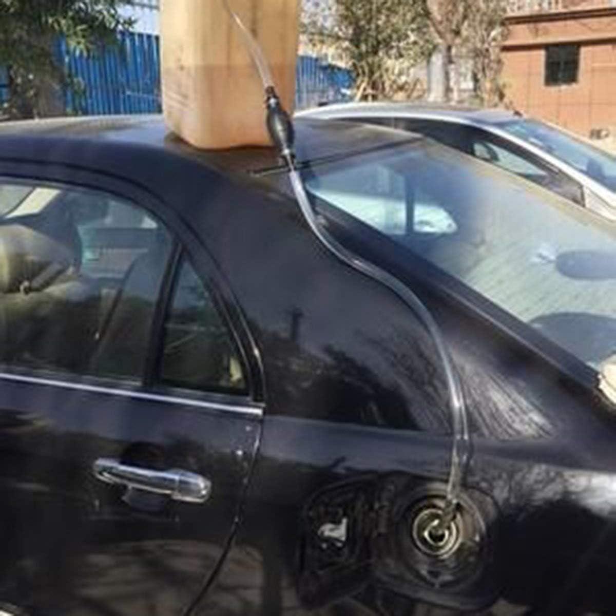 Gugutogo Manuelles Gasoline Pump/öl Pumpensaugseite Wasser Benzin Diesel Kraftstoff-F/örderkreis fl/üssiges Handfl/üssigkeitstransferrohr Pumpe schwarz