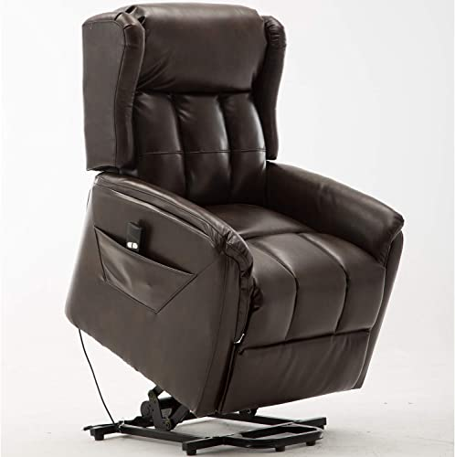 Bonzy Home Power Lift Recliner Chair – Air Leather Electric Recliner with Remote Control – Bedroom Living Room Chair Recliner Sofa for Elderly Brown