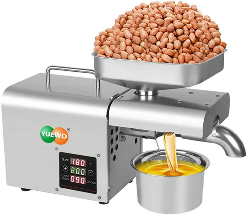 YUEWO Home Oil Press Machine Automatic Nut Seeds Peanut Oil Expeller Electric Oil Press Extractor for Flaxseed Peanut Almond Castor Hemp Perilla Seed Canola Sesame Sunflower Pumpkin (Touch- Screen)