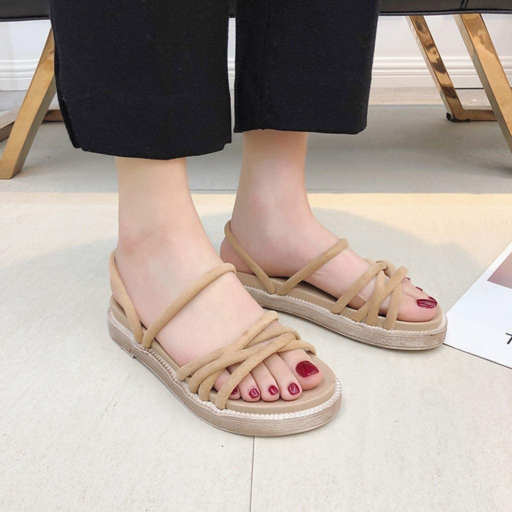 Flat Sandal With Ankle Strap-NEEKEY Womens Simple Fashion Comfortable Casual Flat Sandals