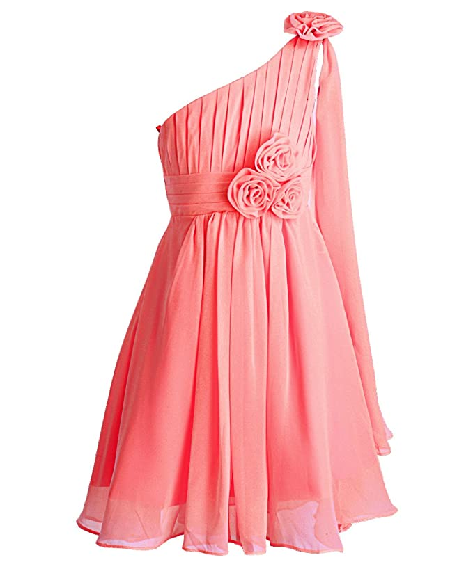 703cd7cd846 FAIRY COUPLE Robe de Soirée Fille en Une Epaule Ornée de Fleurs Robe  Demoiselle d Honneur 2-16 Ans K0110 Corail 10  Amazon.fr  Vêtements et  accessoires