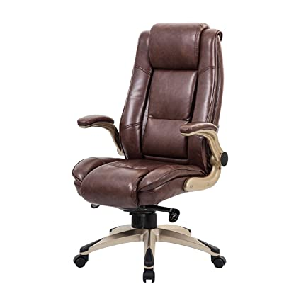 Worpson High Back Bonded Leather Executive Office Chair Flip Up Arms Adjustable Recline Locking Mechanism Thick Padding And Lumbar Support Task
