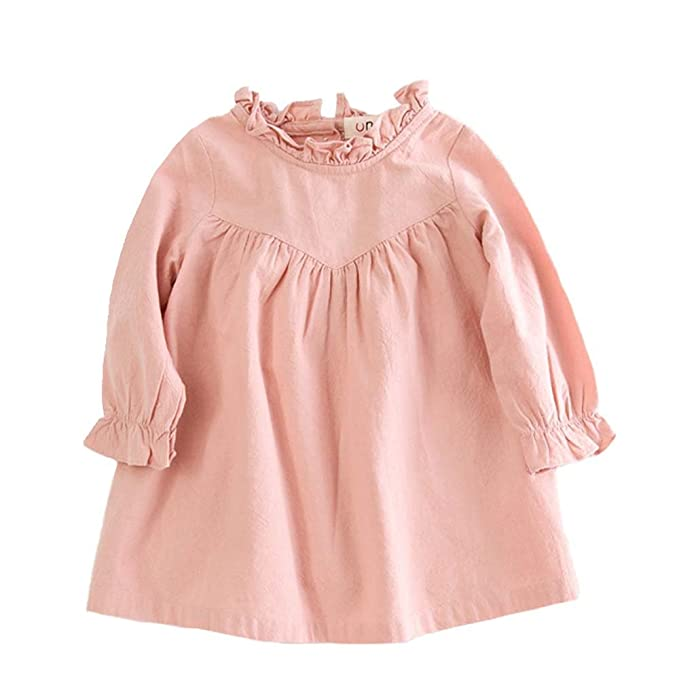 22c25df4f VIYOO Toddler Girl Long Sleeve Dress Casual Cotton and Girl Linen Dress  Clothing, Pink,