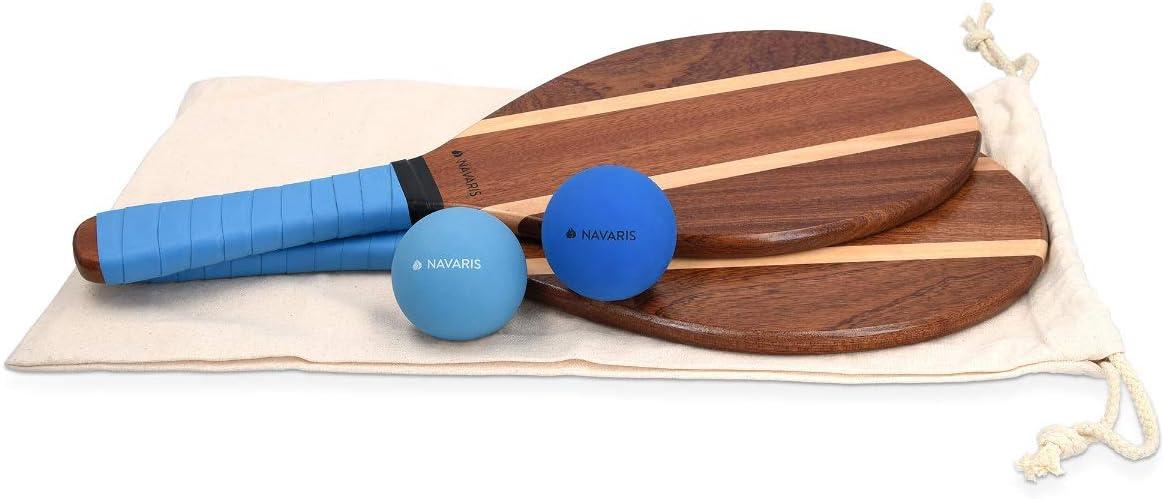 Navaris Juego de 2 Raquetas de Playa y 2 Pelotas - Palas de Madera Maciza y Bolas de Goma - Tenis de Playa frescobol Ping Pong - para niños y Adultos