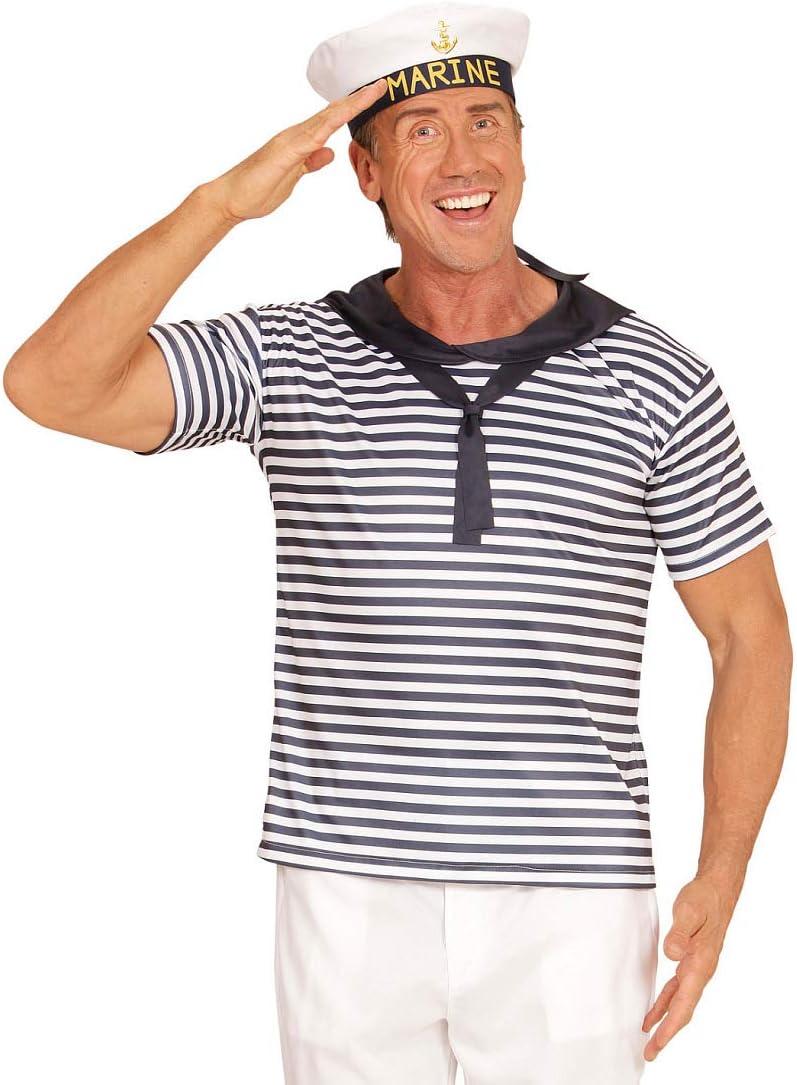 NET TOYS Set Disfraz de Marinero con Sombrero y Camisa - Blanco ...