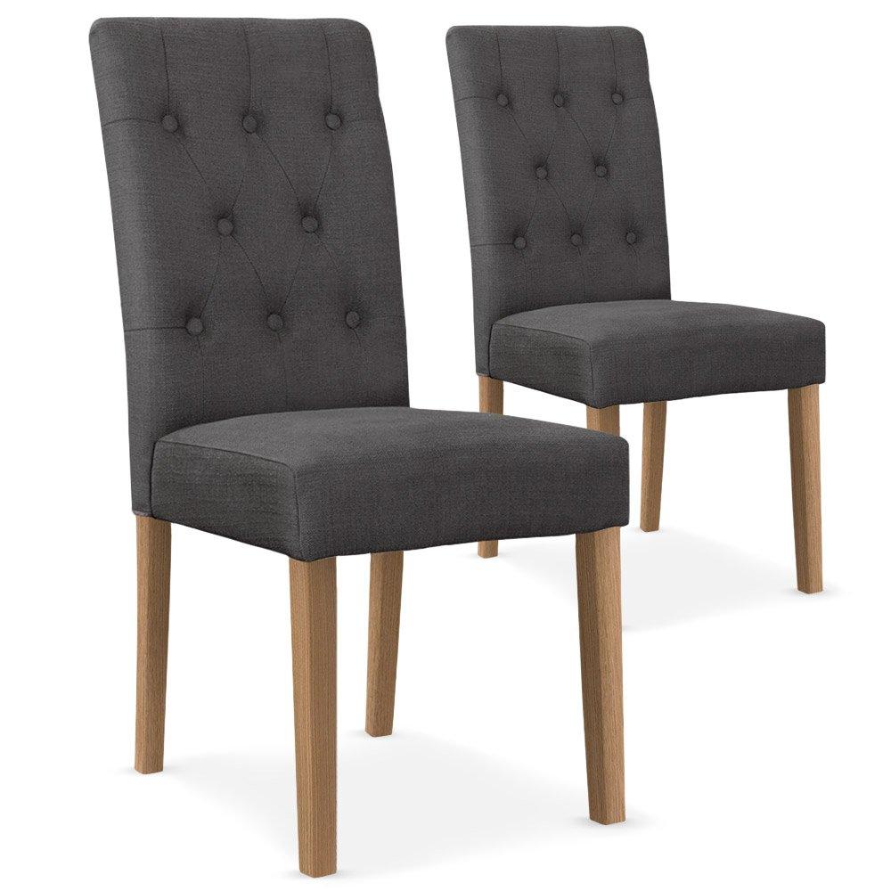 Menzzo Lot de 2 chaises Cecil Tissu Gris