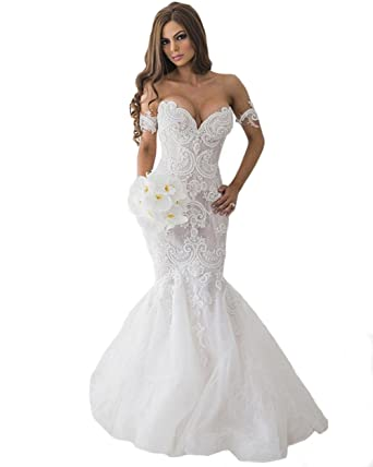 bb428d78702 Tsbridal Lace Mermaid Wedding Dresses 2019 Sweetheart Wedding  GownsXC136-Ivory2