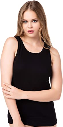 2 o 4 unidades de camisetas interiores para mujer con tirantes anchos – Camiseta larga – 100% algodón puro peinado.: Amazon.es: Ropa y accesorios