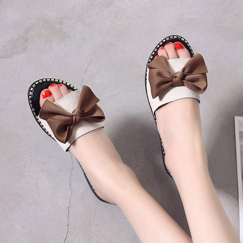 Esharing 2019 Womens Fashion Wild Flat Sandals Beach Sandals Solid Color Slippers
